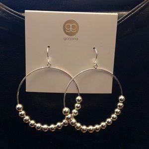 NWT Silver Beaded Hoop Drop Earrings